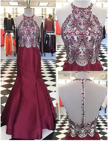 Round Neck Backless Appliques Prom Dress with Beading,Fashion Prom Dress,Sexy