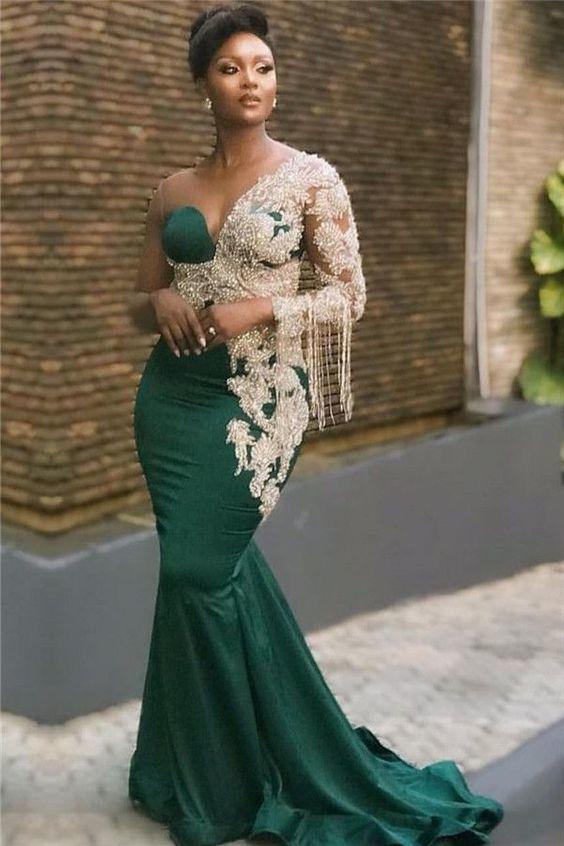 Dark Green Mermaid Appliques Prom Dresses, Glamorous Sweep Train One Shoulder