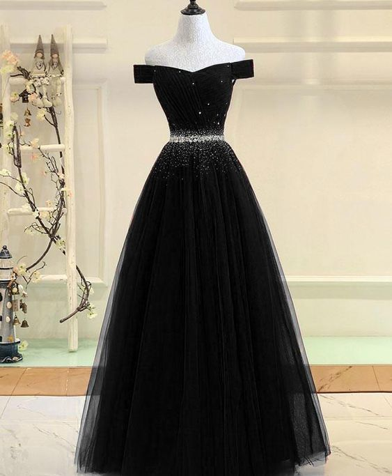 Black Tulle Beaded Long Off Shoulder New Formal Dress, Black Party Gown