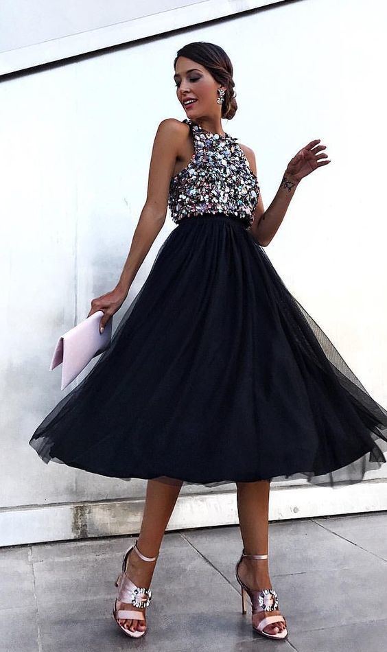 Black evening gown long party formal evening dress