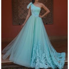 green prom dresses 2020 one shoulder pleats lace appliques a line tulle evening