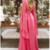 Sexy Deep V Collar Long-Sleeved Long Expansion Vacation Dress,Backless Evening
