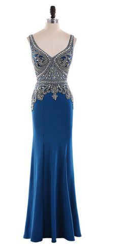 Long mermaid evening gown with luxurious beaded crystal v-neck strapless gown
