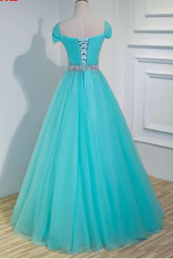A line tulle evening dress