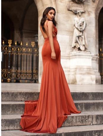 Sexy Mermaid Slit Backless Sleeveless Pleated Prom Dresses,2840