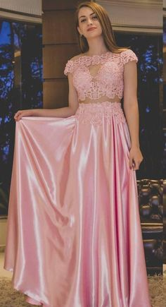 Sexy Sheer Evening Dresses A Line Pink Formal Party Prom Gowns