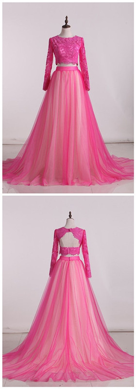 2020 Prom Dresses Scoop Two-Piece Open Back Tulle With Applique Long Sleeves