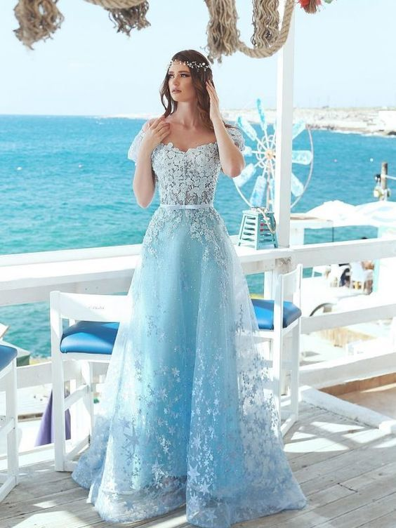 Exquisite A-Line Floral Prom Dresses, Off-The-Shoulder Short Sleeves Beaded Prom