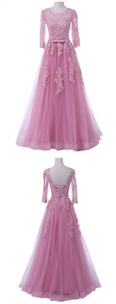 Pink Floral Appliqués Crew Neck Long Sleeves Floor Length Tulle Formal Dress