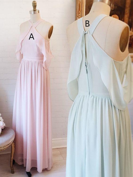 pink long chiffon bridesmaid dress, mint chiffon long bridesmaid dress, party