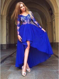 Long Sleeve Royal Blue Lace Asymmetry Evening Party Dress