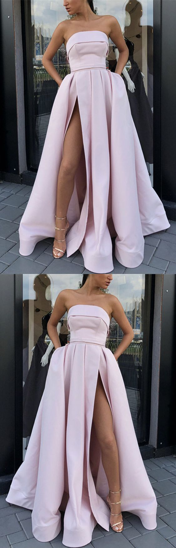 nude pink prom dresses strapless satin gowns
