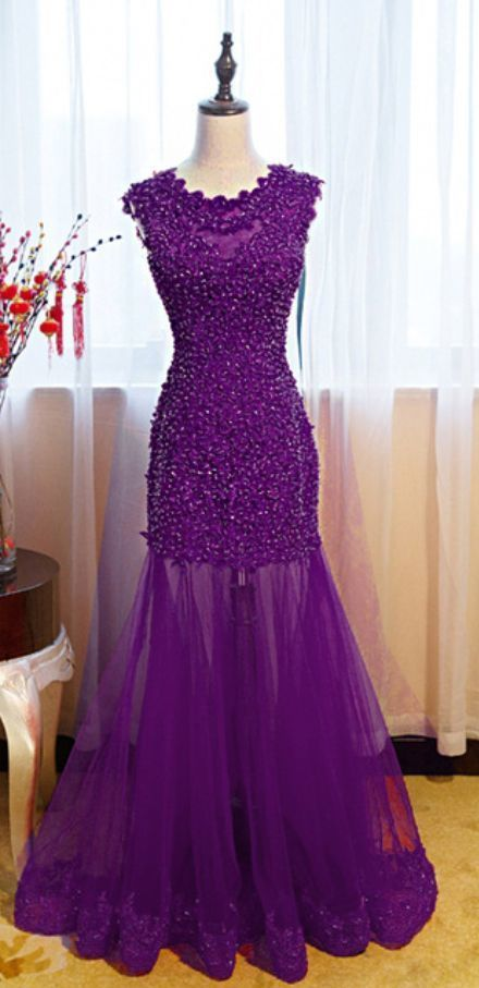 Purple Tulle lace Prom Dress