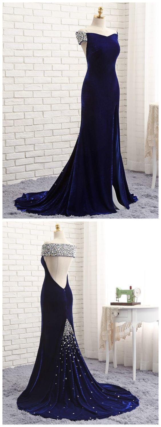 Prom Dresses ,Mermaid V-neck Backless Velvet Crystals Slit