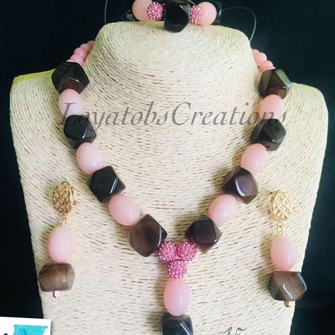 Pink Opal and Brown Agate Nuts