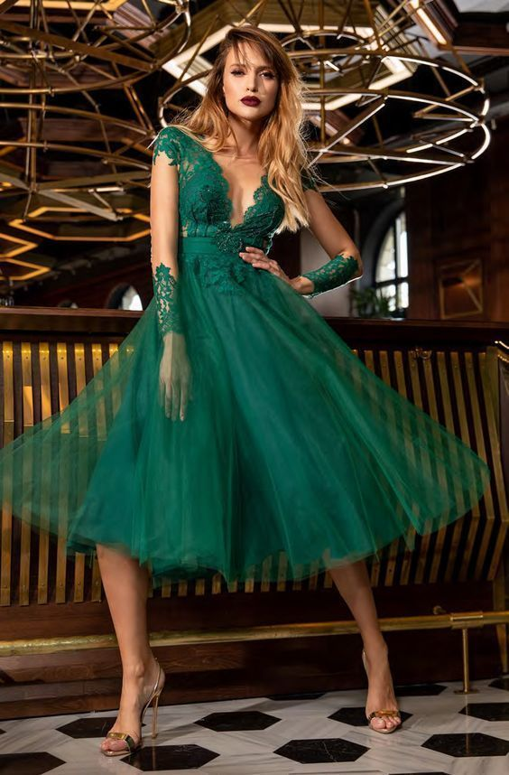 Embroidered Plunging V-Neck A-Line Prom Dress