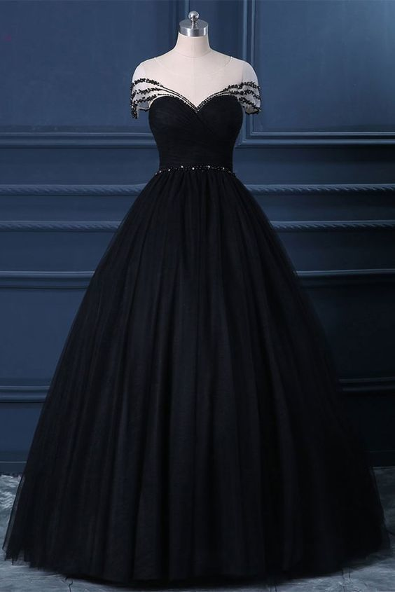 Black Tulle Cap Sleeve Black Tulle Crystal Long Formal Prom Dress, Party Dress