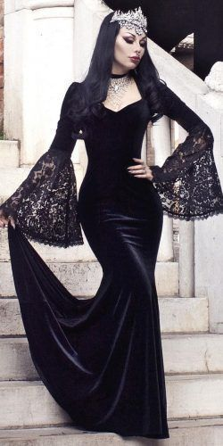 Black Long Sleeves Prom Dress With Lace
