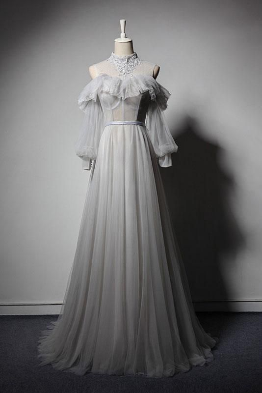 Gray Tulle Lace High Neck Long Senior Prom Dress, Gray Formal Dress With Sleeve