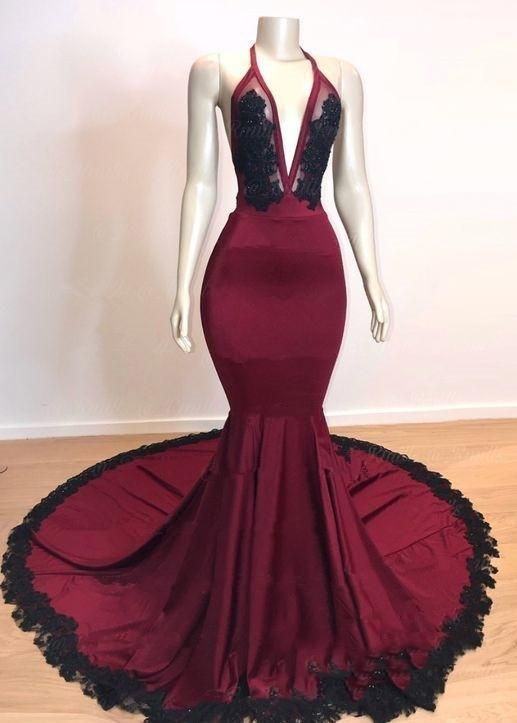 Prom Dress Classy, Sexy Mermaid V Neck Backless Burgundy And Black Long Prom