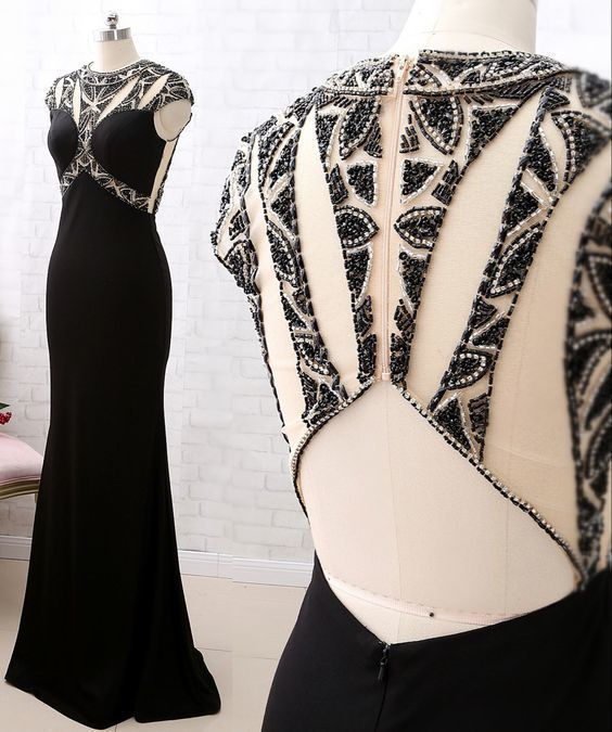 Cap Sleeves Beaded Sheath Black Prom Dress Luxury Formal Evening Gown