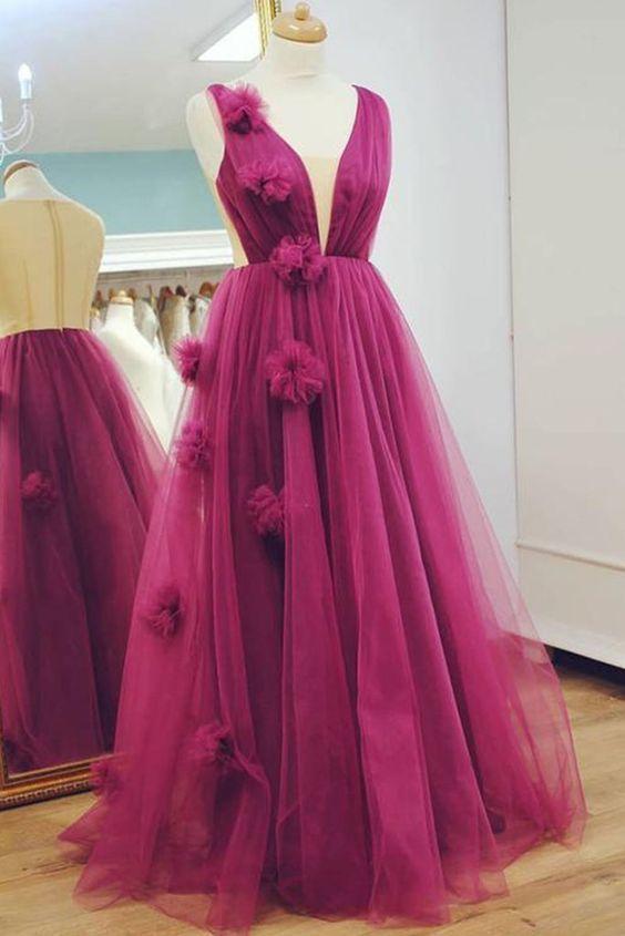 Stylish Long Tulle V Neck A Line Senior Prom Dress, Evening Dress