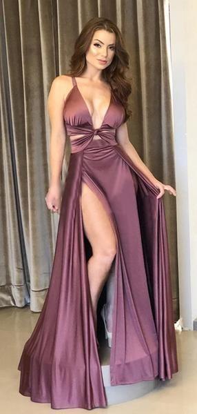 Purple Satin Chiffon Sexy Slip Simple Long Prom Dresses