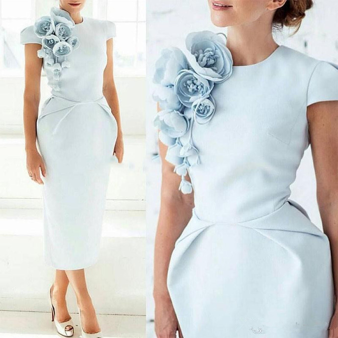 Light Blue Semi Formal Occasion Party Dress