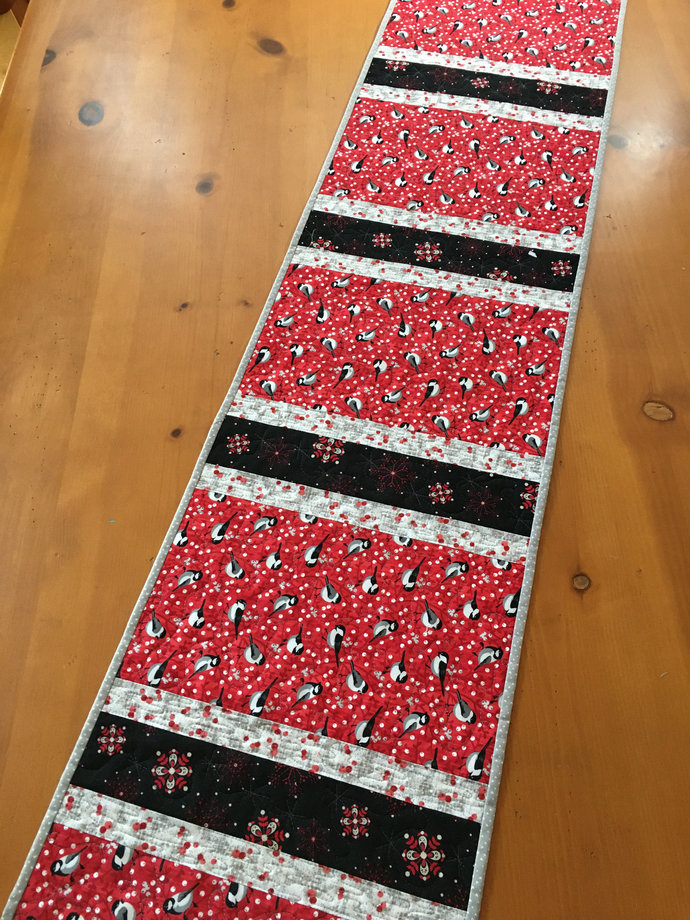 Table Runner Christmas Birds Snowflakes Handmade Quilted Decor