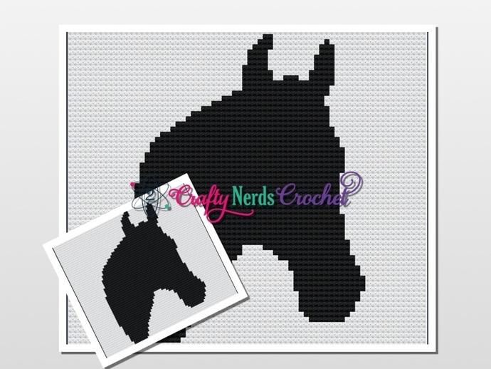 Horse Head  Pillow Pattern Graph With Single Crochet  Written