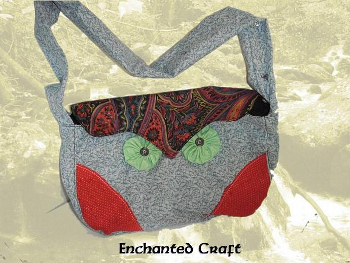 Designer Owl Purse with zippered pocket