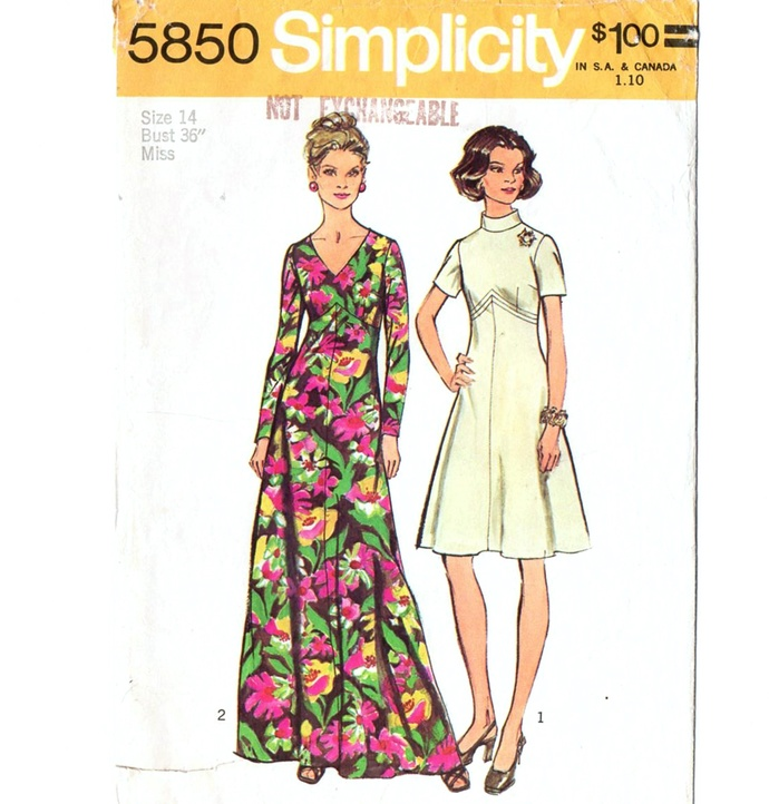 Simplicity 5850 Misses Look Slimmer Dress 70s Vintage Sewing Pattern Size 14