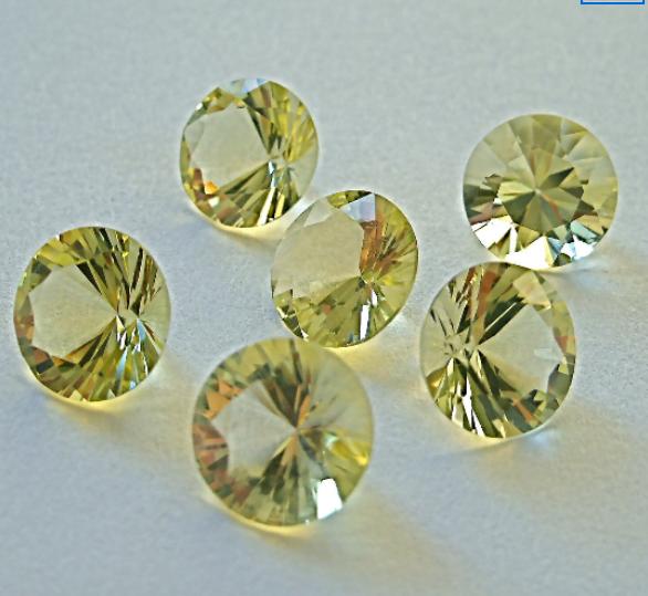 Lemon Quartz 5mm Faceted Gemstone Brilliant Cut FOR TWO