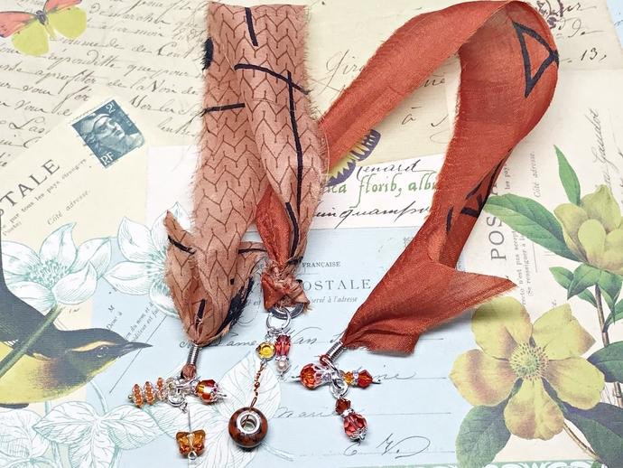 SWAROVSKI CRYSTAL Boho Gypsy Silk Sari Ribbon Bookmark ORANGE  Book Readers Gift
