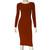 Burnt Orange Pencil Dress Long Sleeve Hobble Dress Plus Size Bodycon Sexy Midi