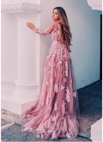 Sexy Open Back Pink Long Sleeve Lace Long Evening Prom Dresses,2842