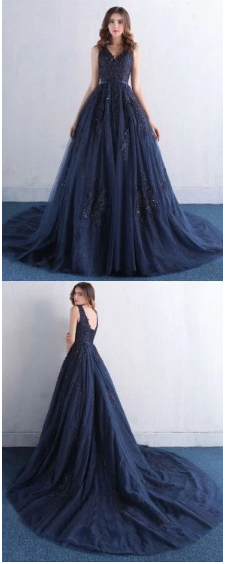 Sexy Navy Blue Prom Dress, Tulle Party Dress, A Line Long Evening Dress,2844
