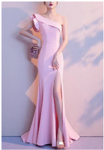 Sexy One Shoulder Slit Mermaid Long Prom dress,2848