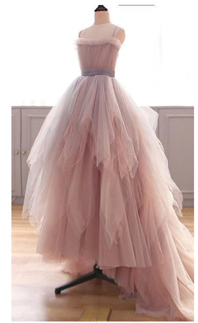 Sexy Pink Tulle High Low Prom Dresses, Elegant Spaghetti Straps Wedding Party
