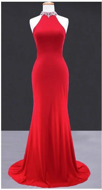 Sexy open back mermaid prom dress,2850
