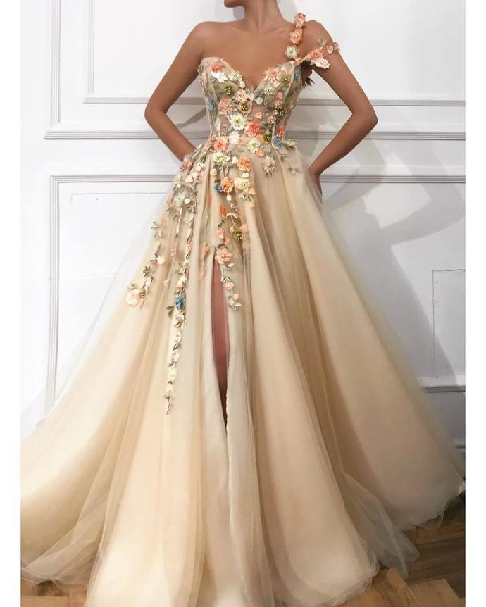 Romantic Flowers Embroidery Slit Prom Dresses Hot Evening Dress G2950