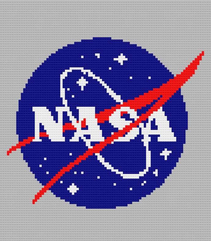 NASA Emblem C2C Crochet Pattern PDF Graph & Written Instructions Blanket Afghan
