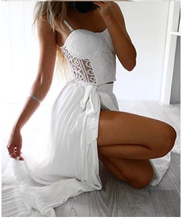 Sexy Prom Dress Two Piece Straps Floor-Length White Prom Dress with Lace