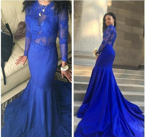 Sexy plus size long sleeve prom dresses african royal blue prom dresses formal