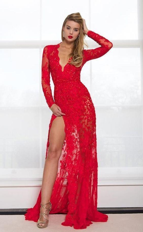 Sexy Prom Dress, V-neck Prom Dress,Red Lace Prom Dress,Long Sleeves Prom