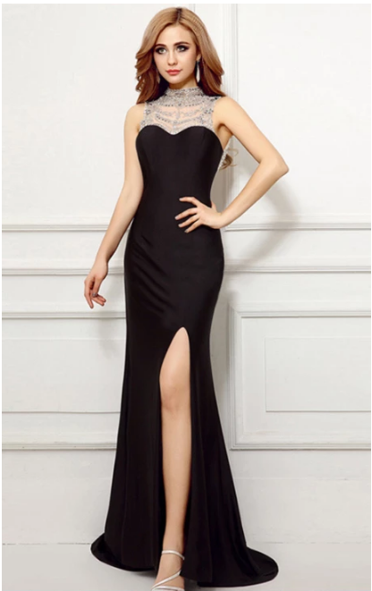 Sexy prom dress, floor length evening dress ,o neck party dress,party gowns