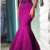 Sexy spaghetti strap purple prom dress with appliques, bodycon mermaid v-neck