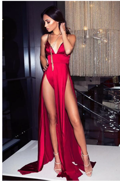 Sexy Satin V Neck Red Party Dress with Slit prom dresses,2869