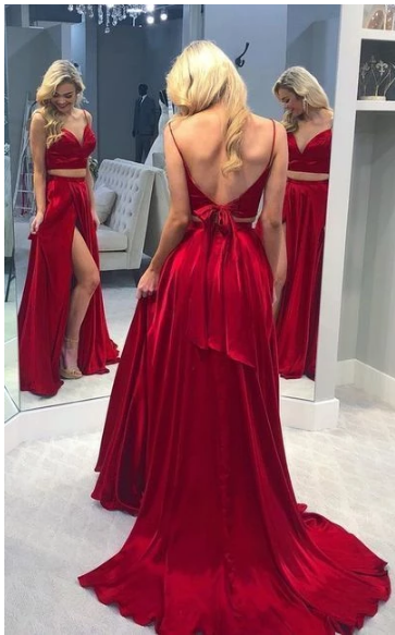 Sexy Sleeveless Open Back Evening Party Dress, Red Long Prom Dresses with