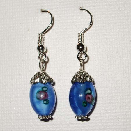 Blue oval flowery earrings